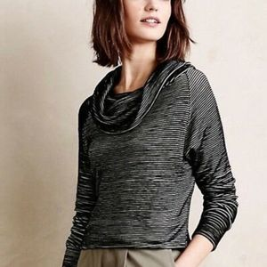 Anthro Dolan | Black Ribbed Cowl Neck Top